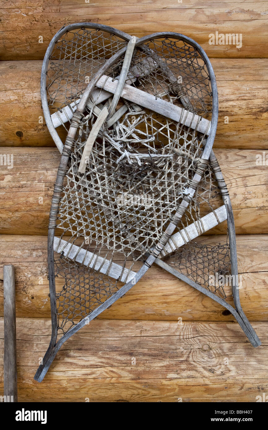 Native traditional snowshoes at the Mokotakan Quebec Native culture interpretation site in Saint-Mathieu-du-Parc - Stock Image