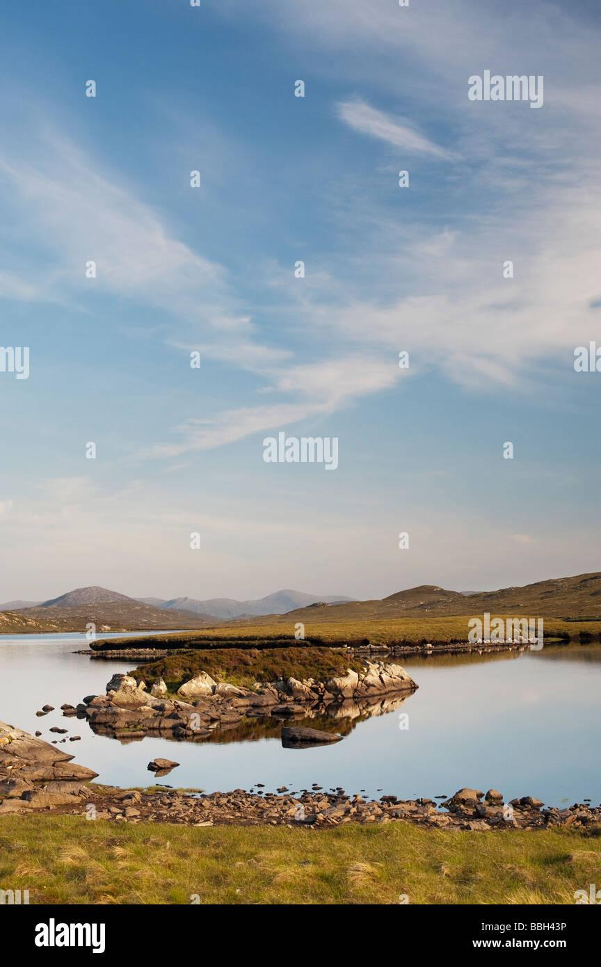 Evening light on a loch, Isle of Lewis, Outer Hebrides, Scotland - Stock Image