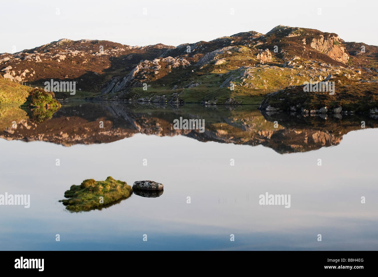 Isle of Harris still ocean loch reflections, Outer Hebrides, Scotland - Stock Image