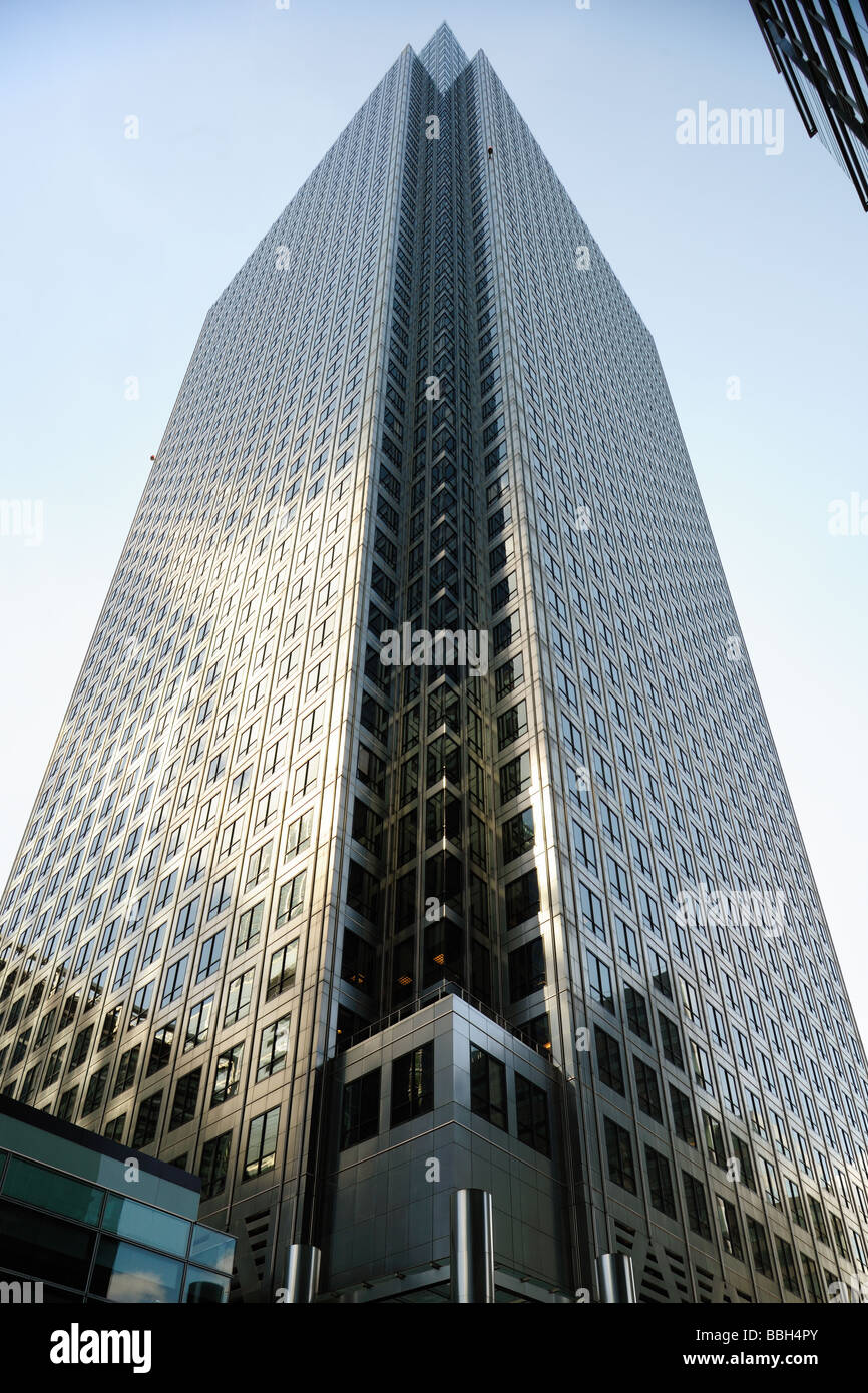 Facades of One Canada Square Canary Wharf London England UK - Stock Image