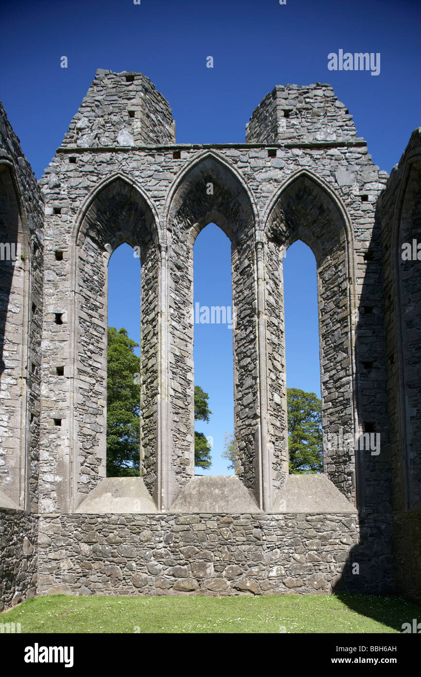 gable wall of Inch Abbey county down northern ireland uk the abbey ruins date back to 1180 when the cistercian abbey - Stock Image