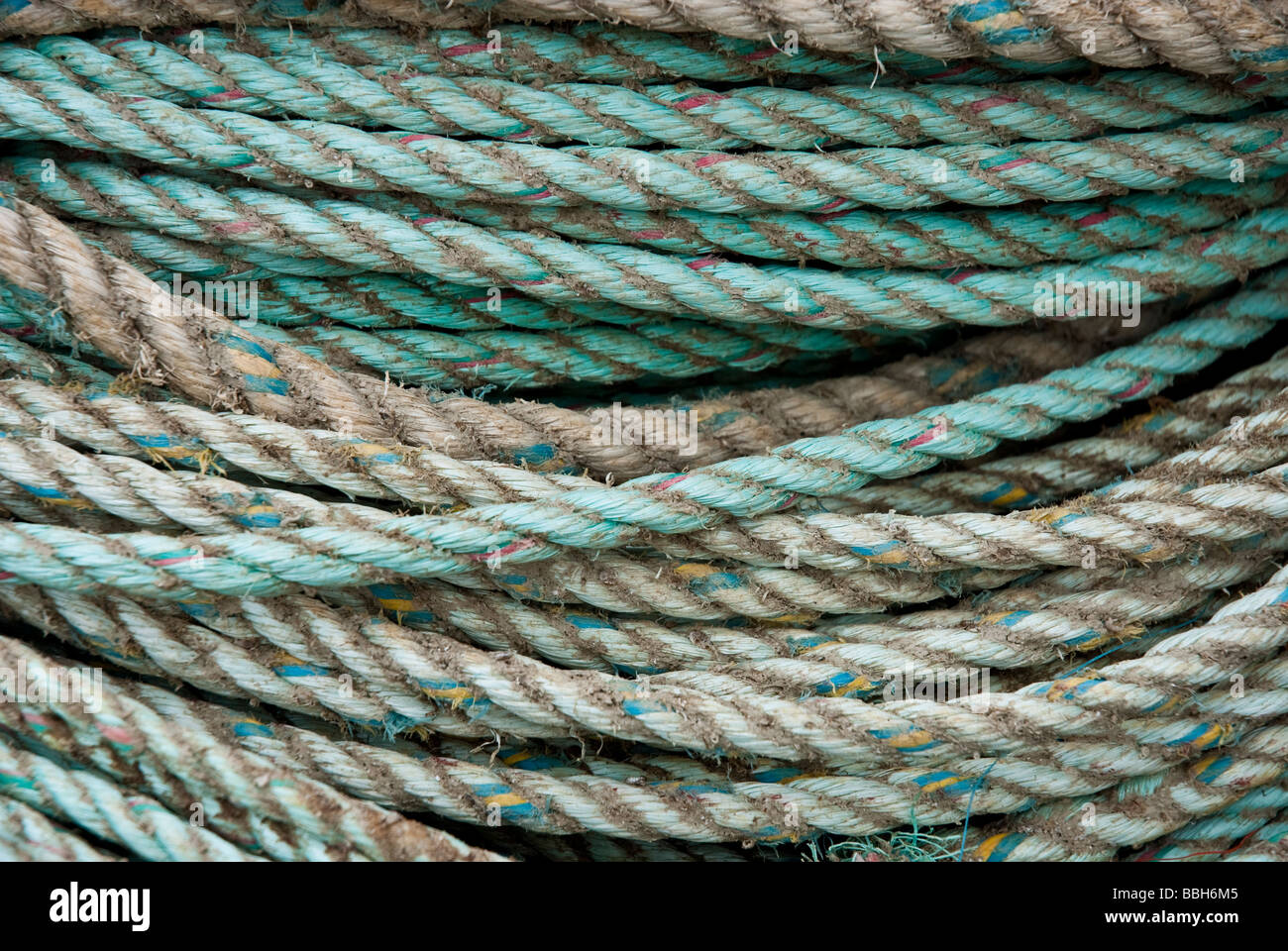 coil of old rope - Stock Image