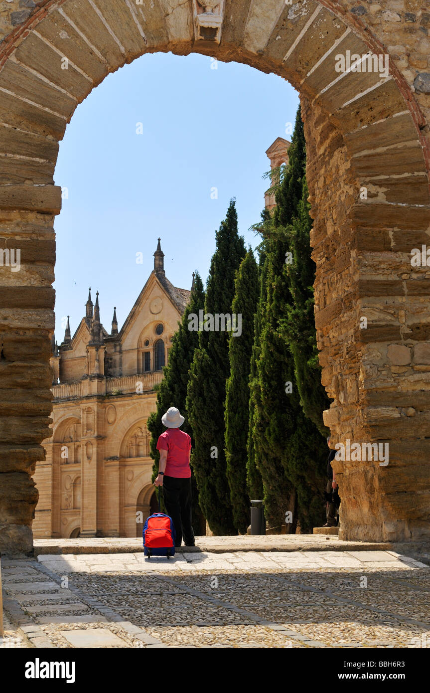 Looking through the Archway of the Giants to the Colegiata city of Antequera Andalucia Spain - Stock Image