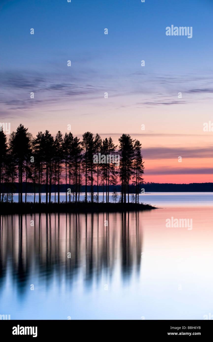 Tranquil landscape ar dawn Lakeland Karelia Finland - Stock Image