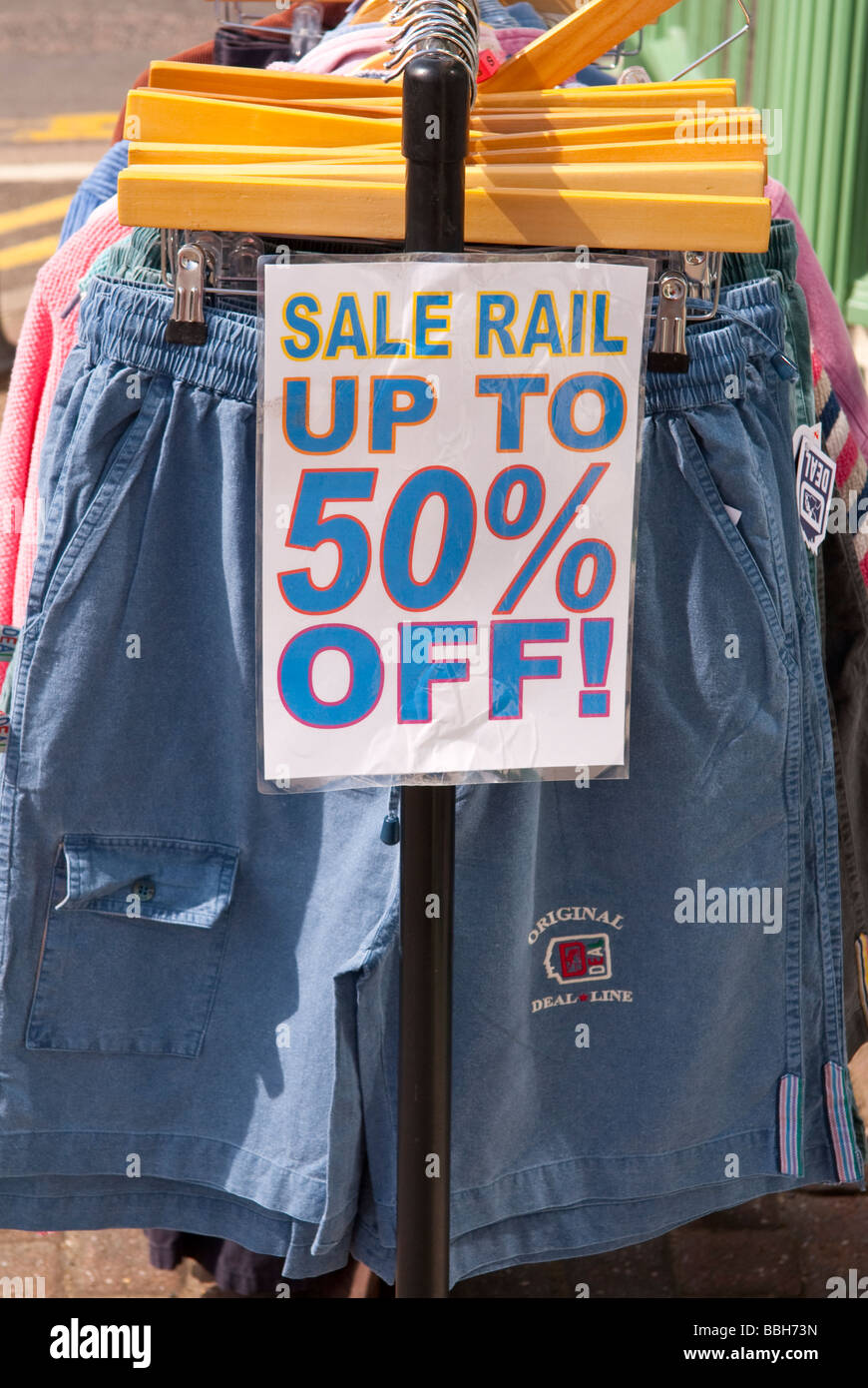 A Sale Rail Outside A Uk Clothing Shop Store Selling Cut Price Clothes In  The Sales