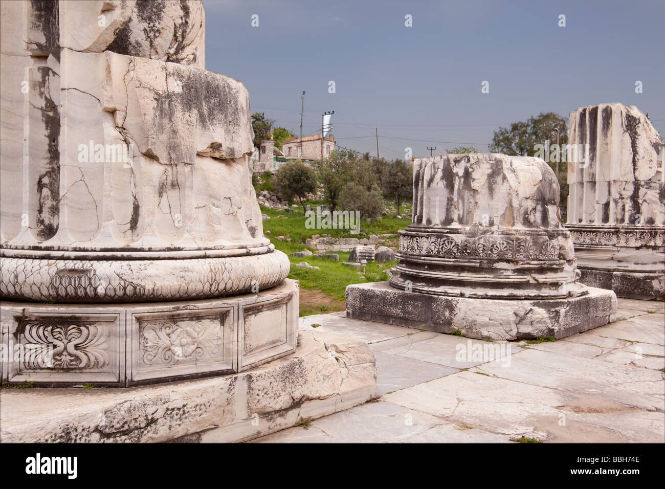 Ancient columns at the ruins of Didyma at the Temple of Apollo in Turkey - Stock Image