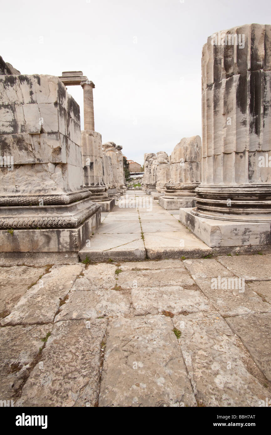 Ruins of the temple of Apollo at Didyma in Turkey - Stock Image