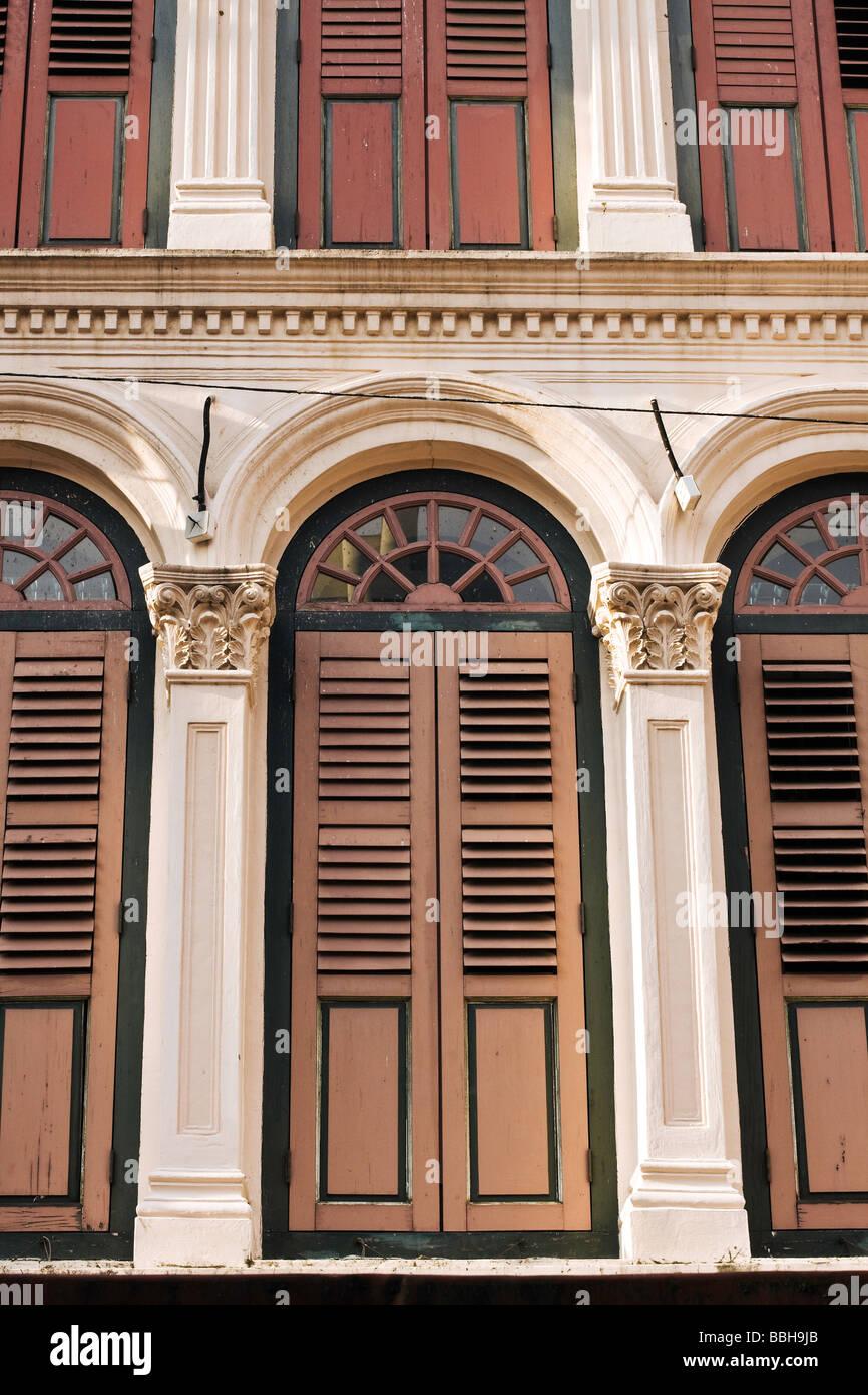 Singapore, Chinatown, traditional shophouse architecture. Stock Photo