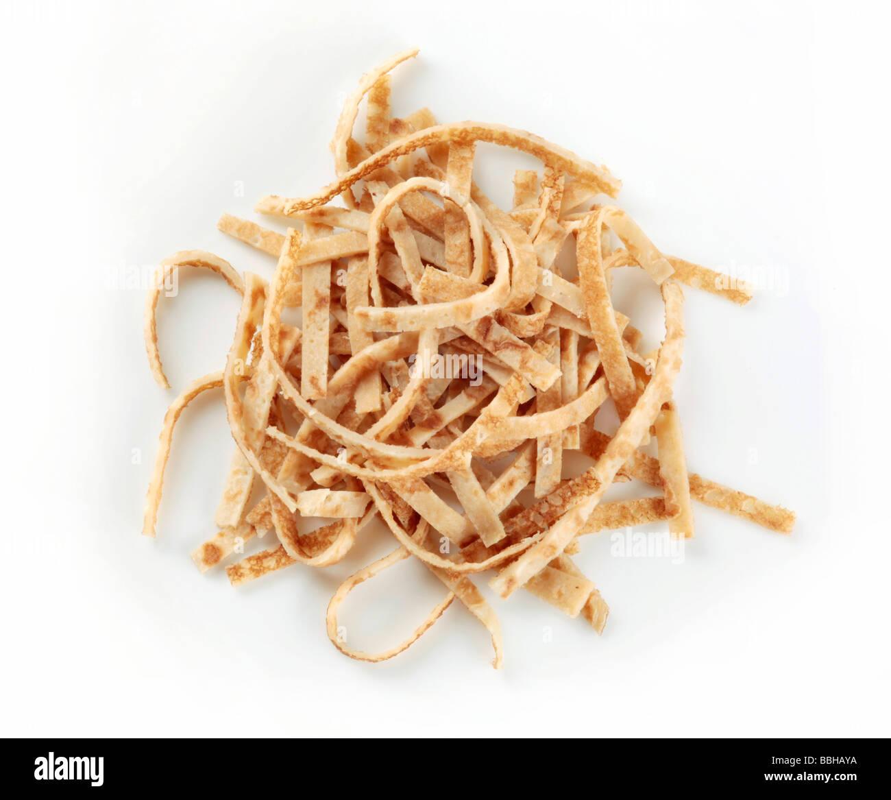 Celestine noodles - sliced pancakes - Stock Image