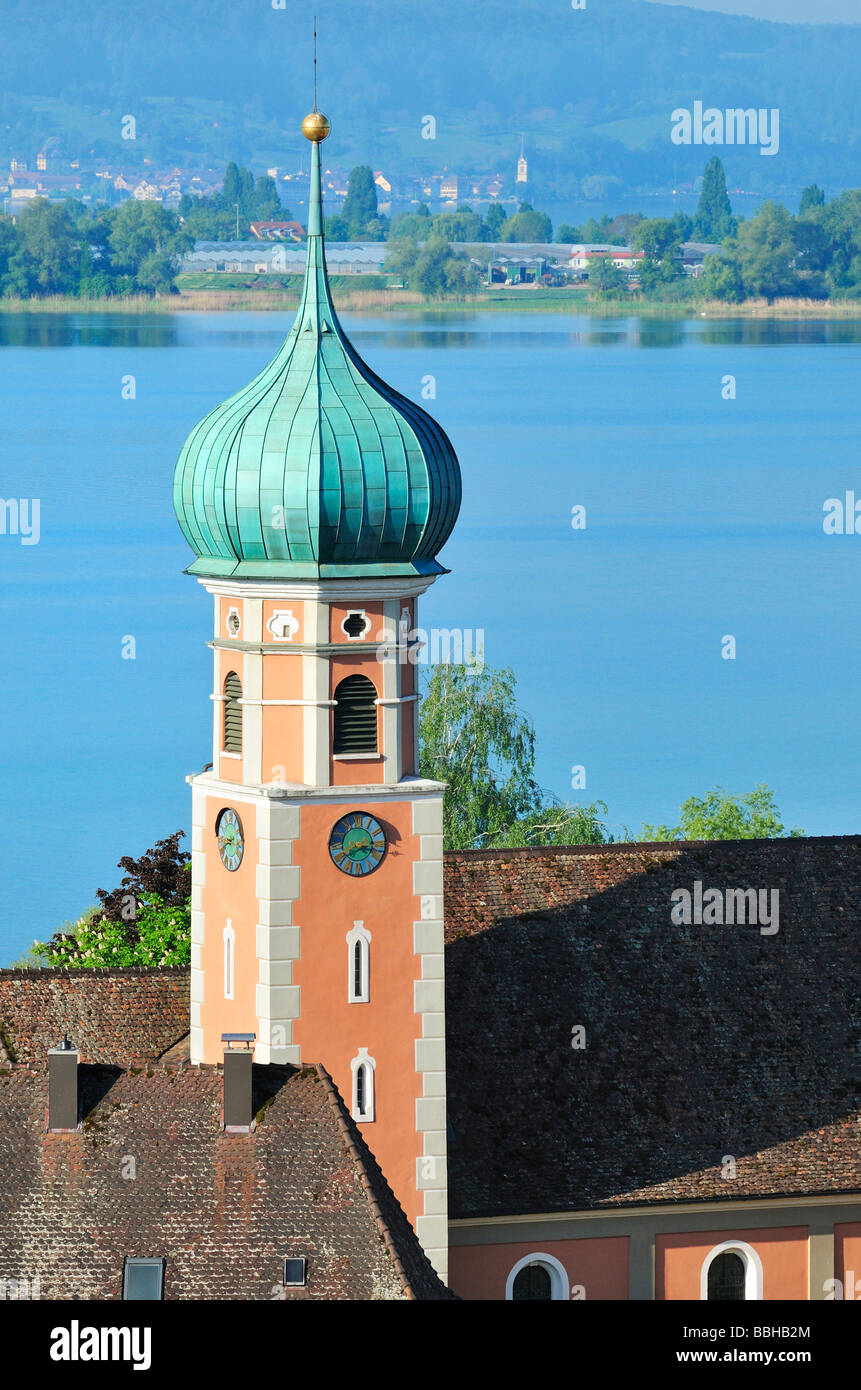 Baroque bulbous tower of St. Nikolauskirche Church in Allensbach, county of Constance, Baden-Wuerttemberg, Germany, - Stock Image