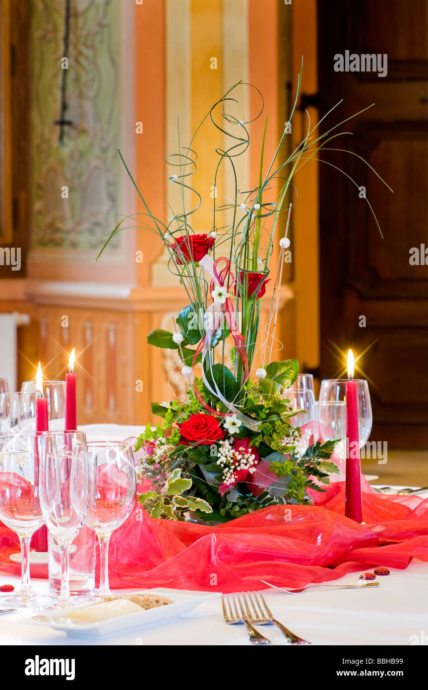 Floral decoration as part of a fancy table setting - Stock Image & Fancy Table Setting Stock Photos u0026 Fancy Table Setting Stock Images ...