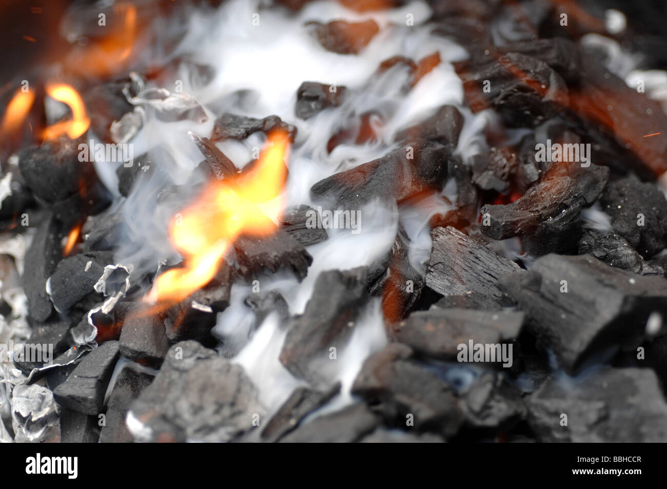 barbecue charcoal, BBQ coal fire - Stock Image