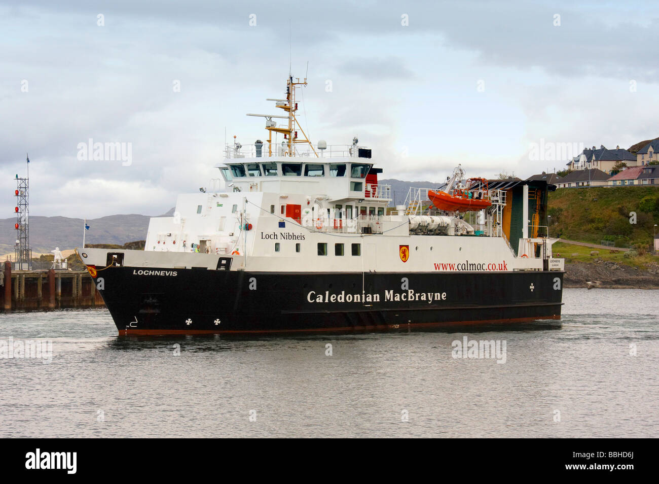 Caledonian MacBrayne Ferry in Mallaig harbour - Stock Image