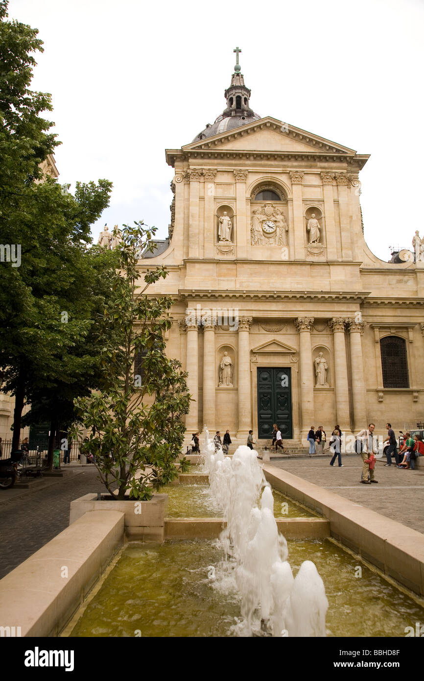 The historic university the Sorbonne is part of the Left Bank area of Paris France - Stock Image