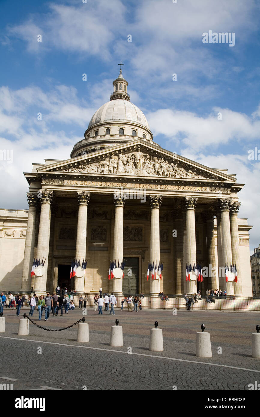 The Pantheon on the Left Bank of Paris is a fine example of the neoclassicism building style Paris France - Stock Image