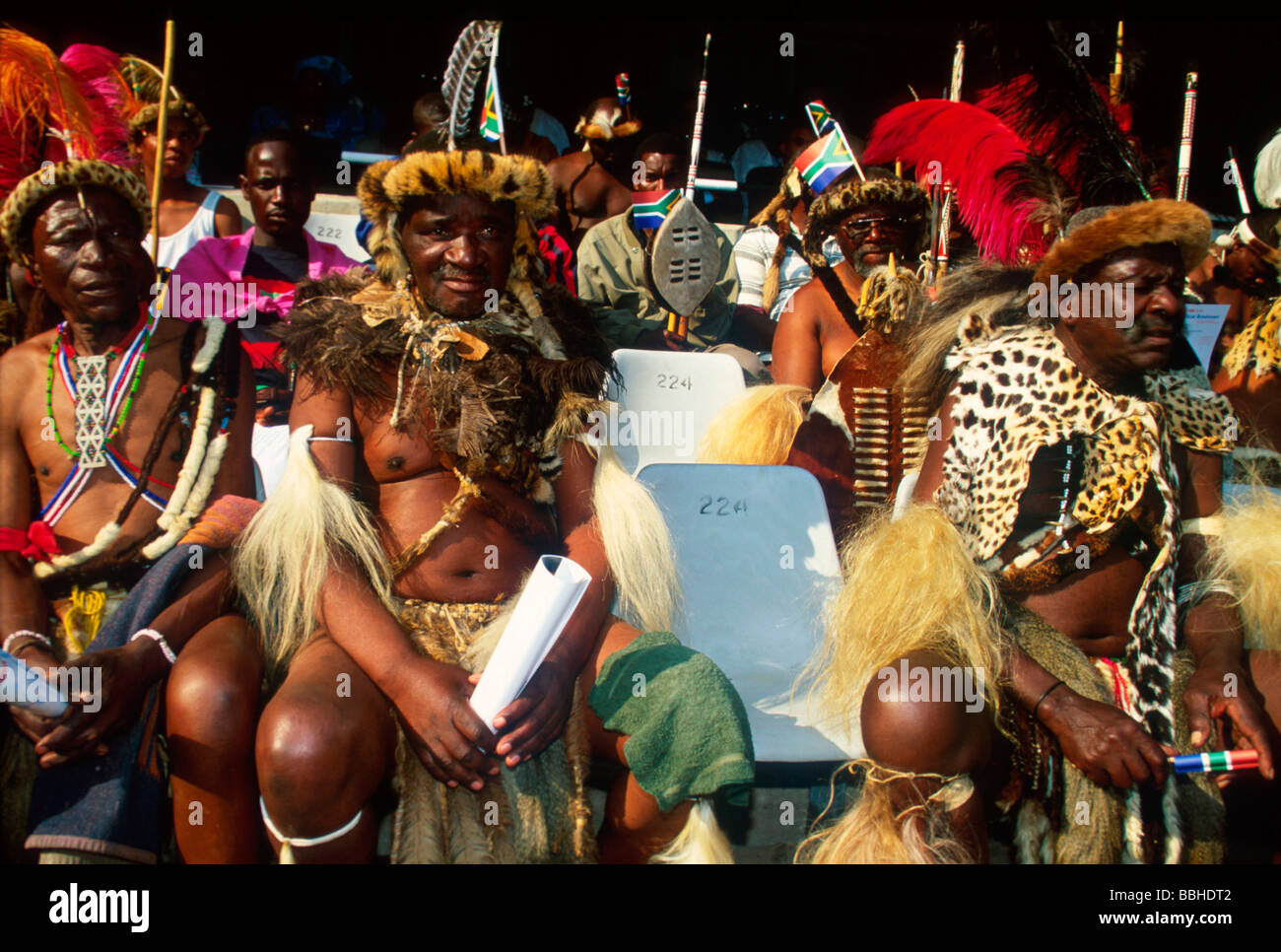 7 2002 Absa Stadium Durban KwaZulu Natal South Africa nMembers of Prince Gideon ZuluÕs private army at the - Stock Image