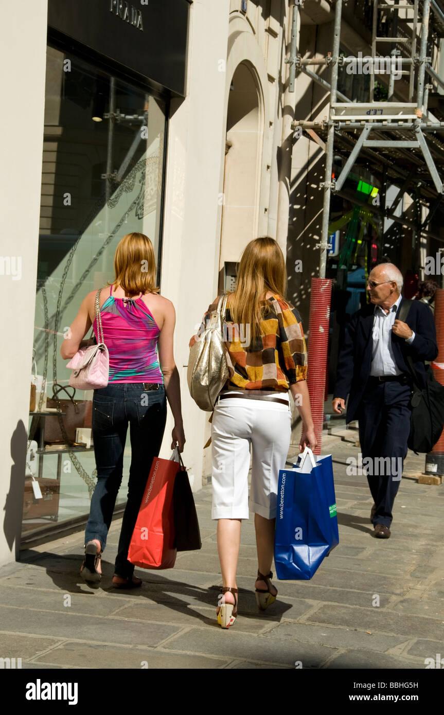 "Paris France, Women Luxury Clothes Shopping, Street Scene, Outside Prada Store, ""Rue Faubourg Saint Honore"" Stock Photo"