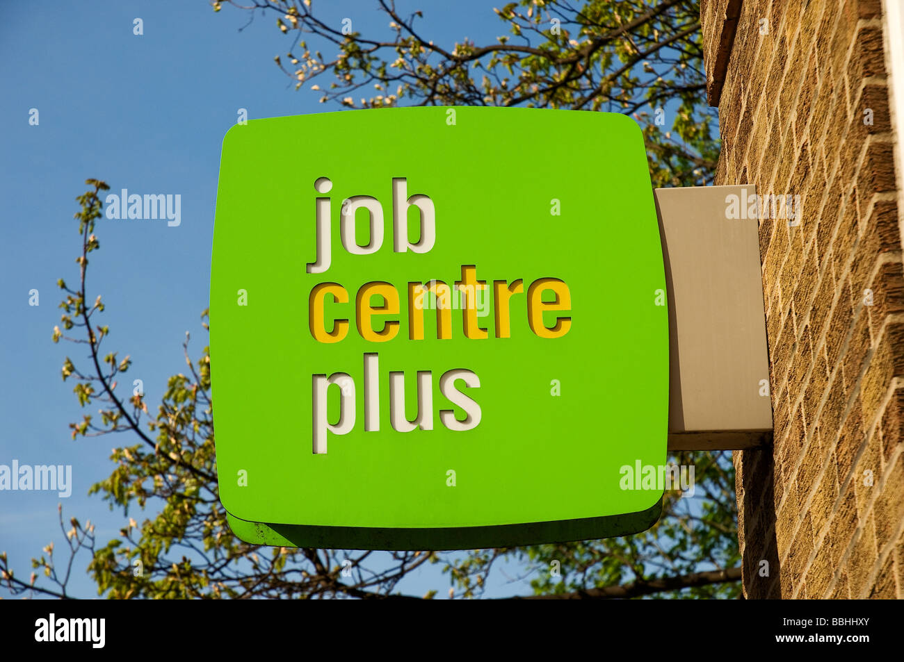 Job Centre Plus sign on wall England UK United Kingdom GB Great Britain - Stock Image