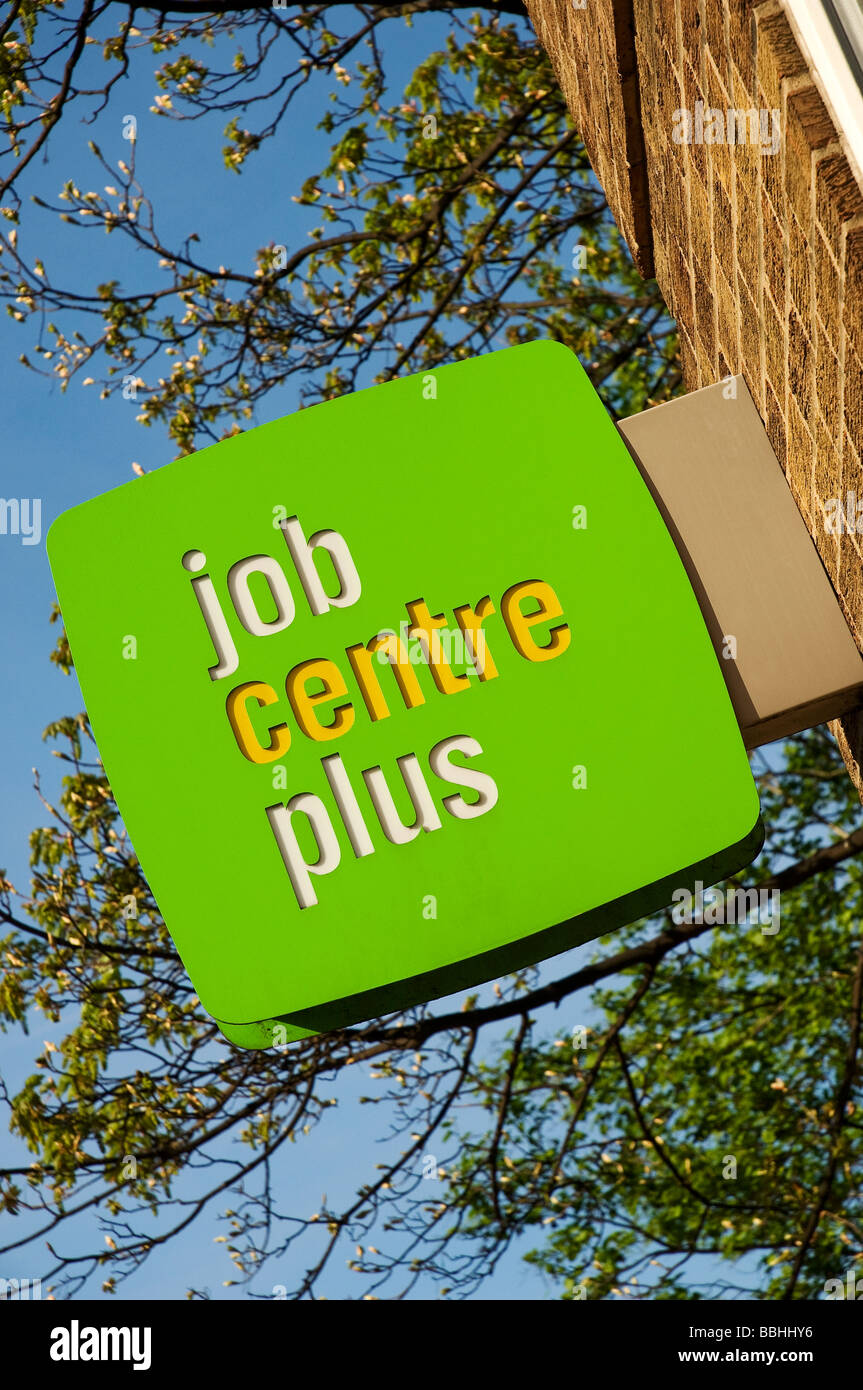 Close up of Job Centre Plus sign on wall England UK United Kingdom GB Great Britain Stock Photo