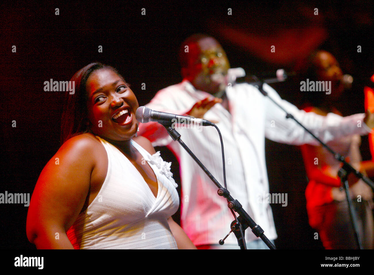 Entertaining over 25 000 local and international jazz lovers and fans is Joyous celebrations choir performs at the Stock Photo
