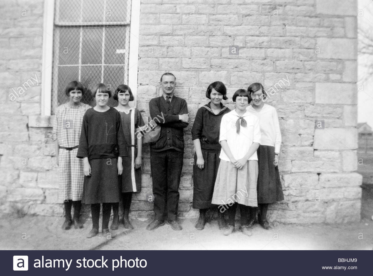 USA 1920s rural school with young adult female students Stock Photo