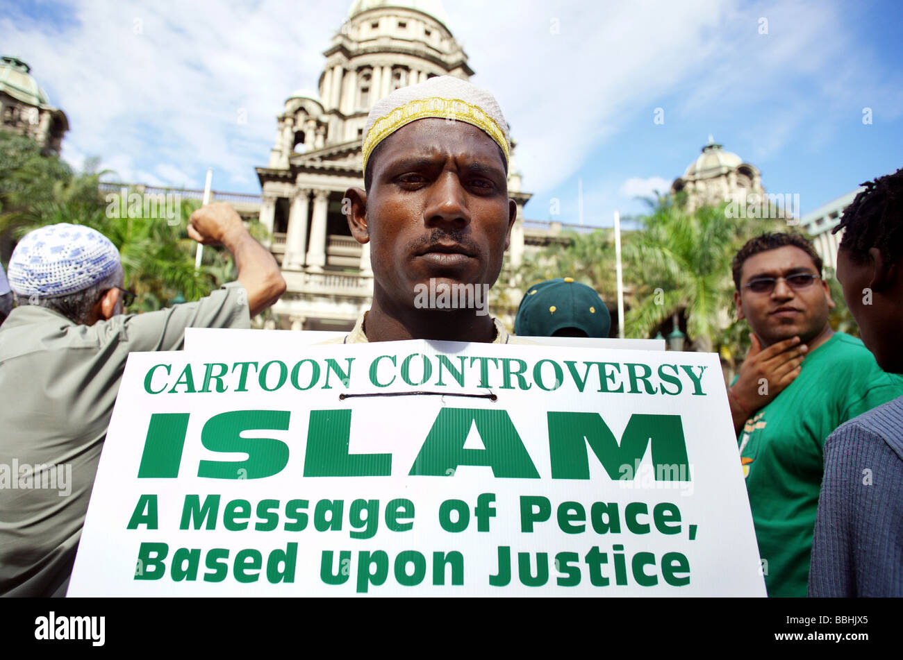 Hundreds of Muslim protestors took to the streets shouted slogans and carried placards during a demonstration in - Stock Image