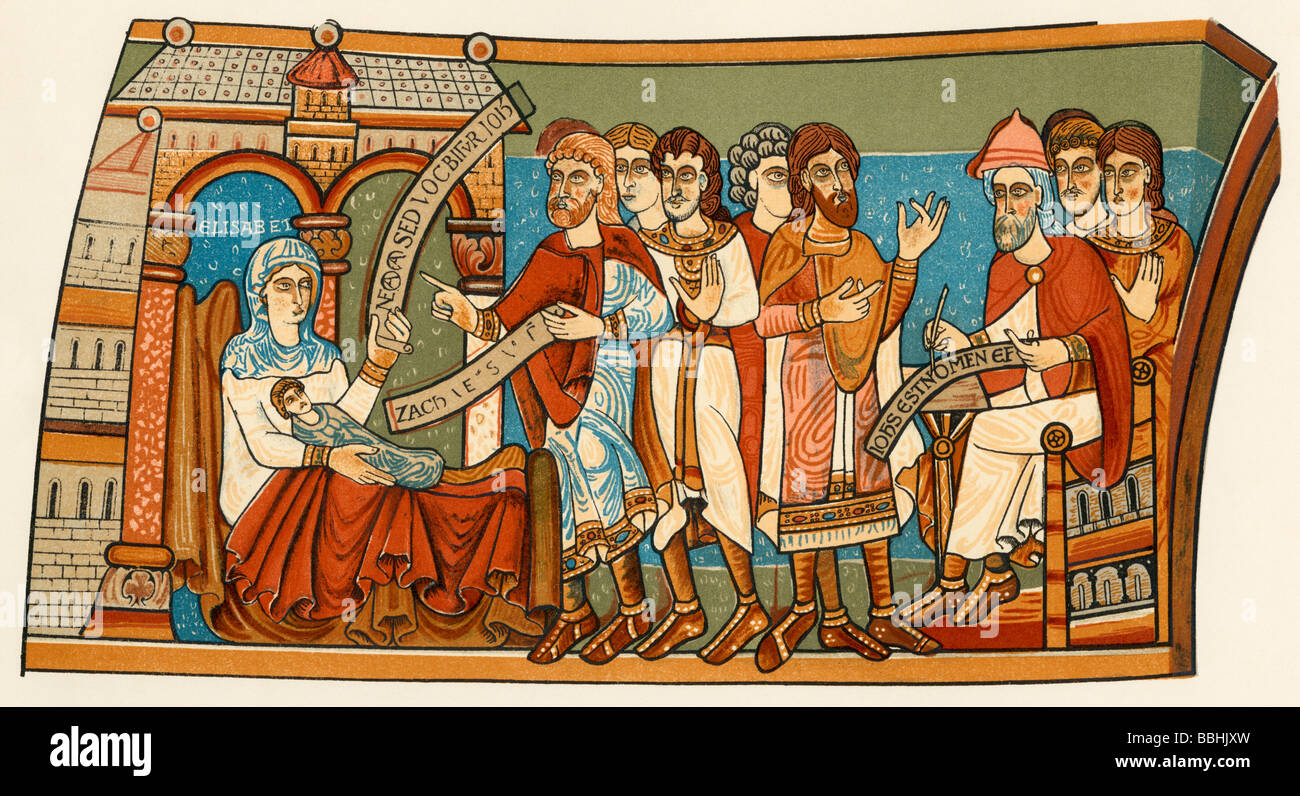 Naming the child who became Saint John the Baptist. Color lithograph of a12th-century wall painting in the crypt - Stock Image