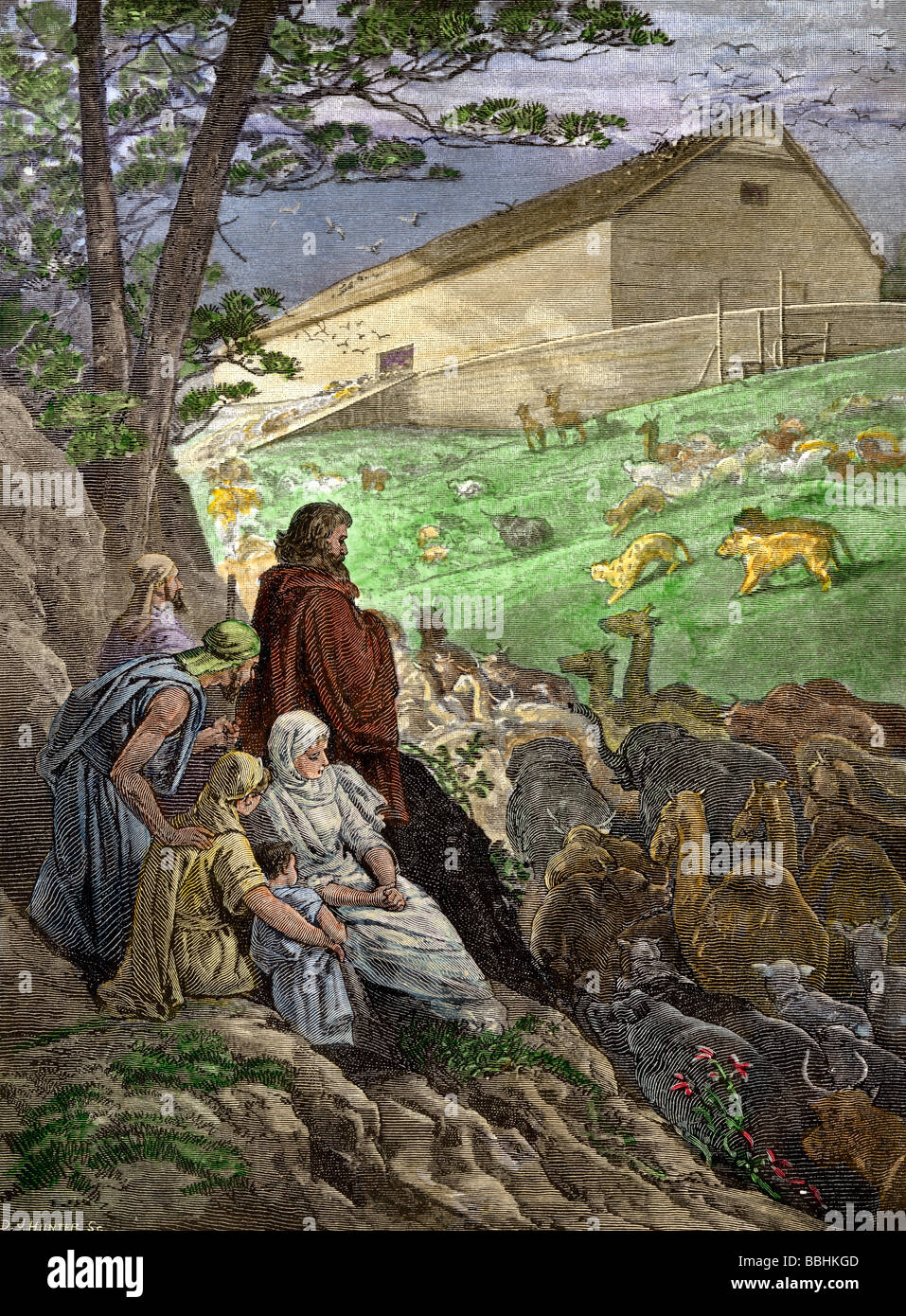 Animals entering Noah's Ark before the Biblical flood. Hand-colored woodcut - Stock Image