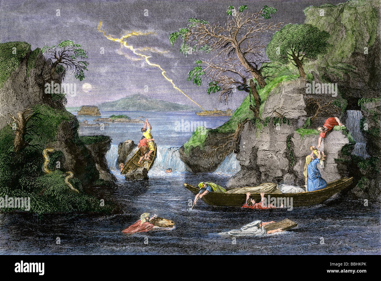 Wicked people trying to save themselves in the Biblical flood. Hand-colored steel engraving - Stock Image