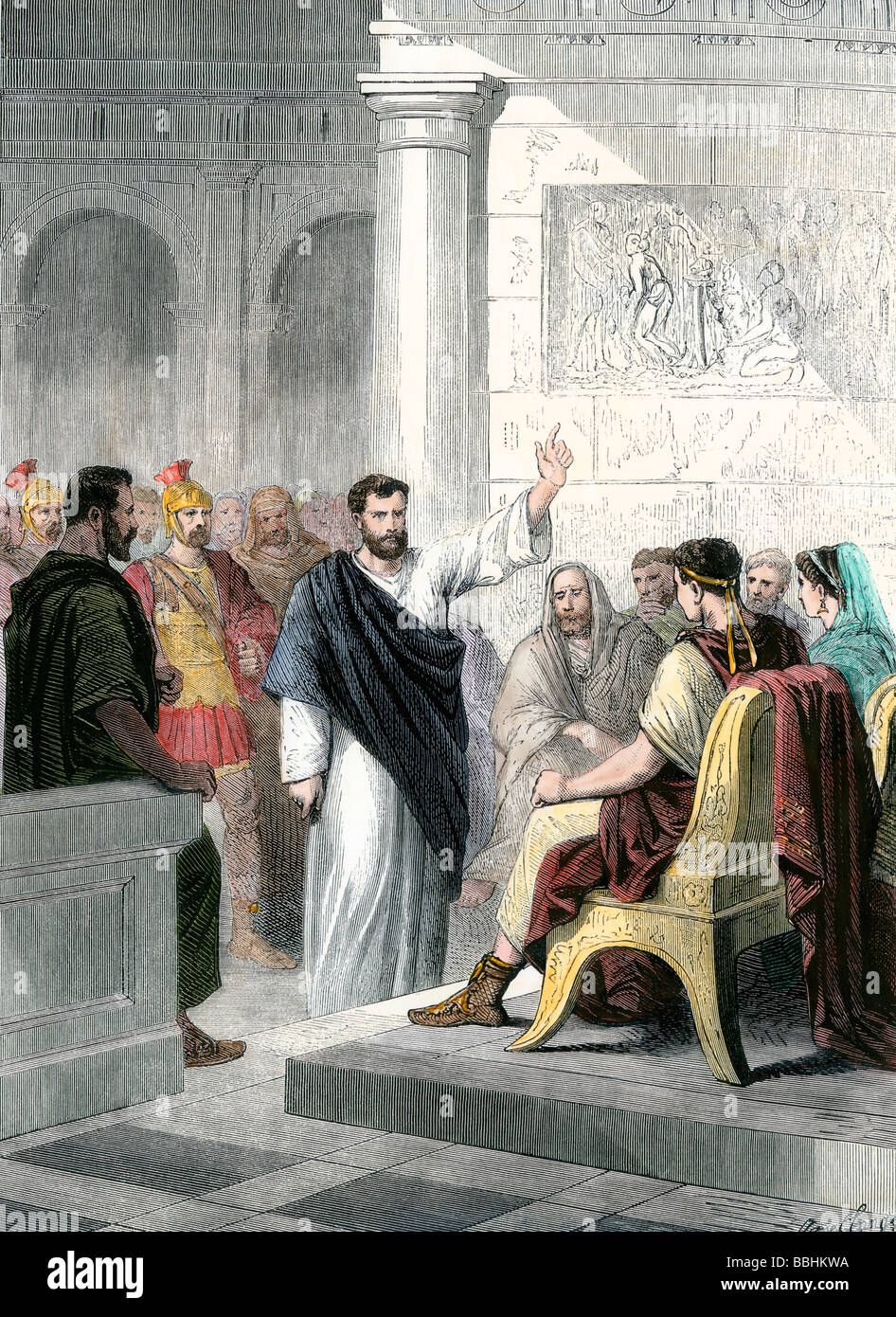 Apostle Paul defending himself before Roman Consul Agrippa. Hand-colored woodcut - Stock Image