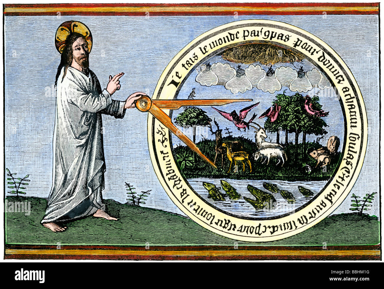 God creating the world with calipers. Hand-colored woodcut - Stock Image