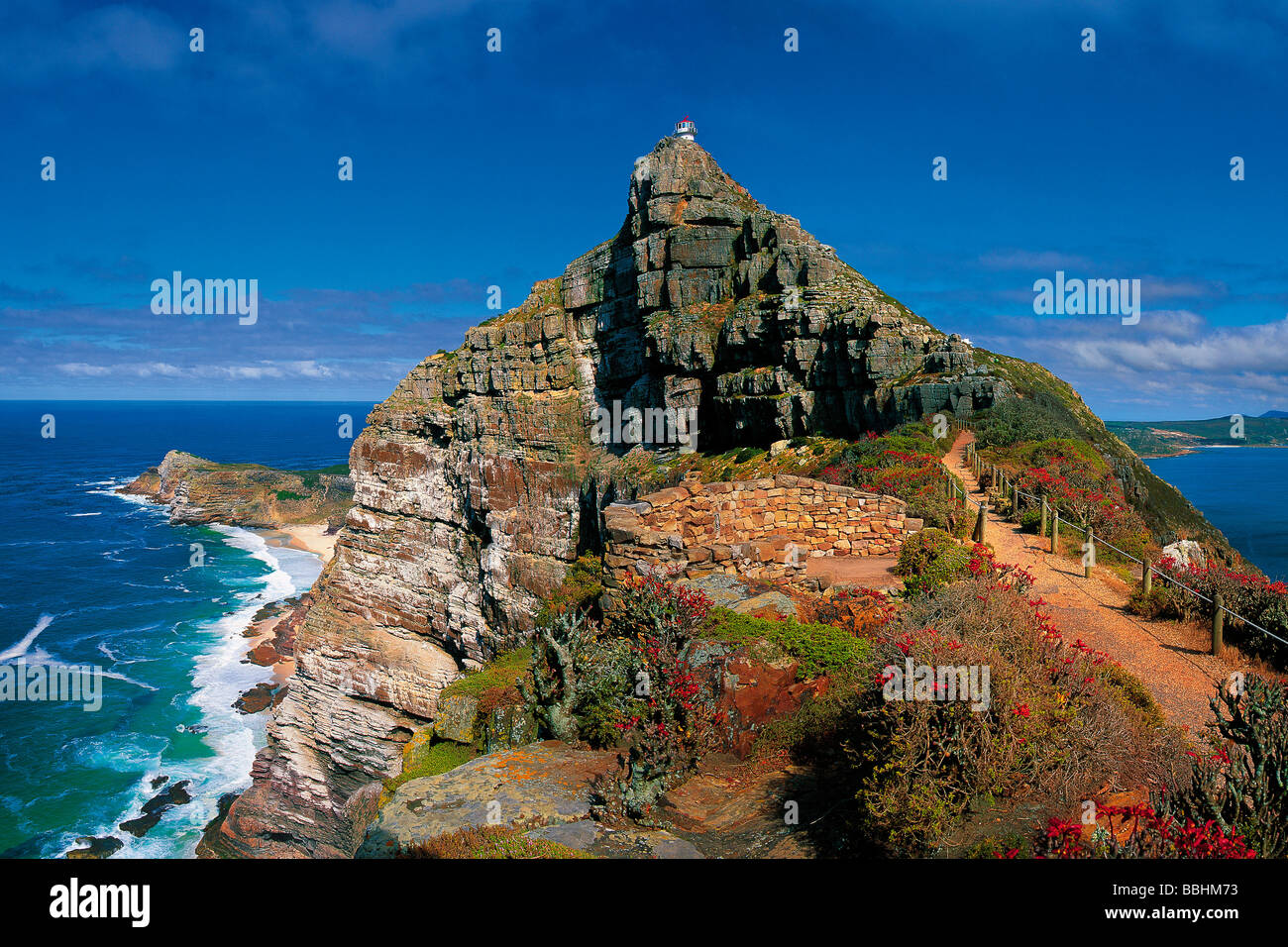 TOWERING CLIFFS RISE UP AGAINST THE OCEAN LIKE STATELY SENTINELS - Stock Image