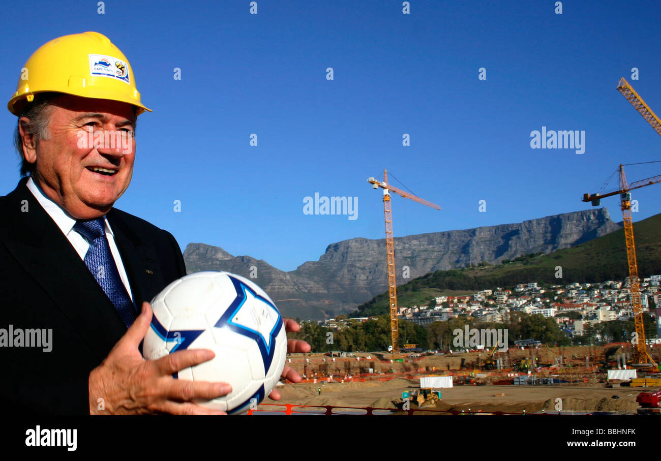 FIFA President Sepp Blatter at the construction site of the Greenpoint stadium which will host a World Cup semi - Stock Image