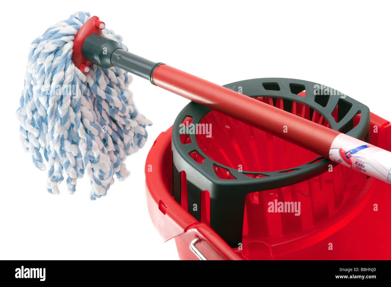 Red mop handle and plastic bucket - Stock Image
