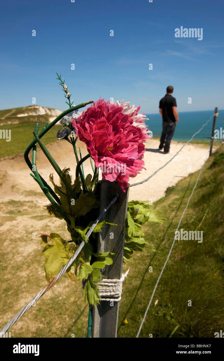 The clifftop at Beachy Head on the South Downs a notorious suicide spot - Stock Image