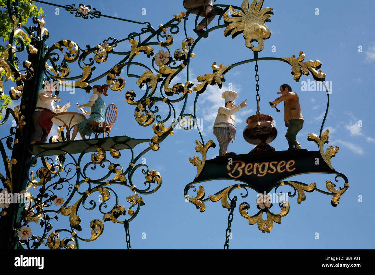 Wrought-iron advertising sign at Lake Titisee in the Black Forest, Baden-Wuerttemberg, Germany, Europe - Stock Image