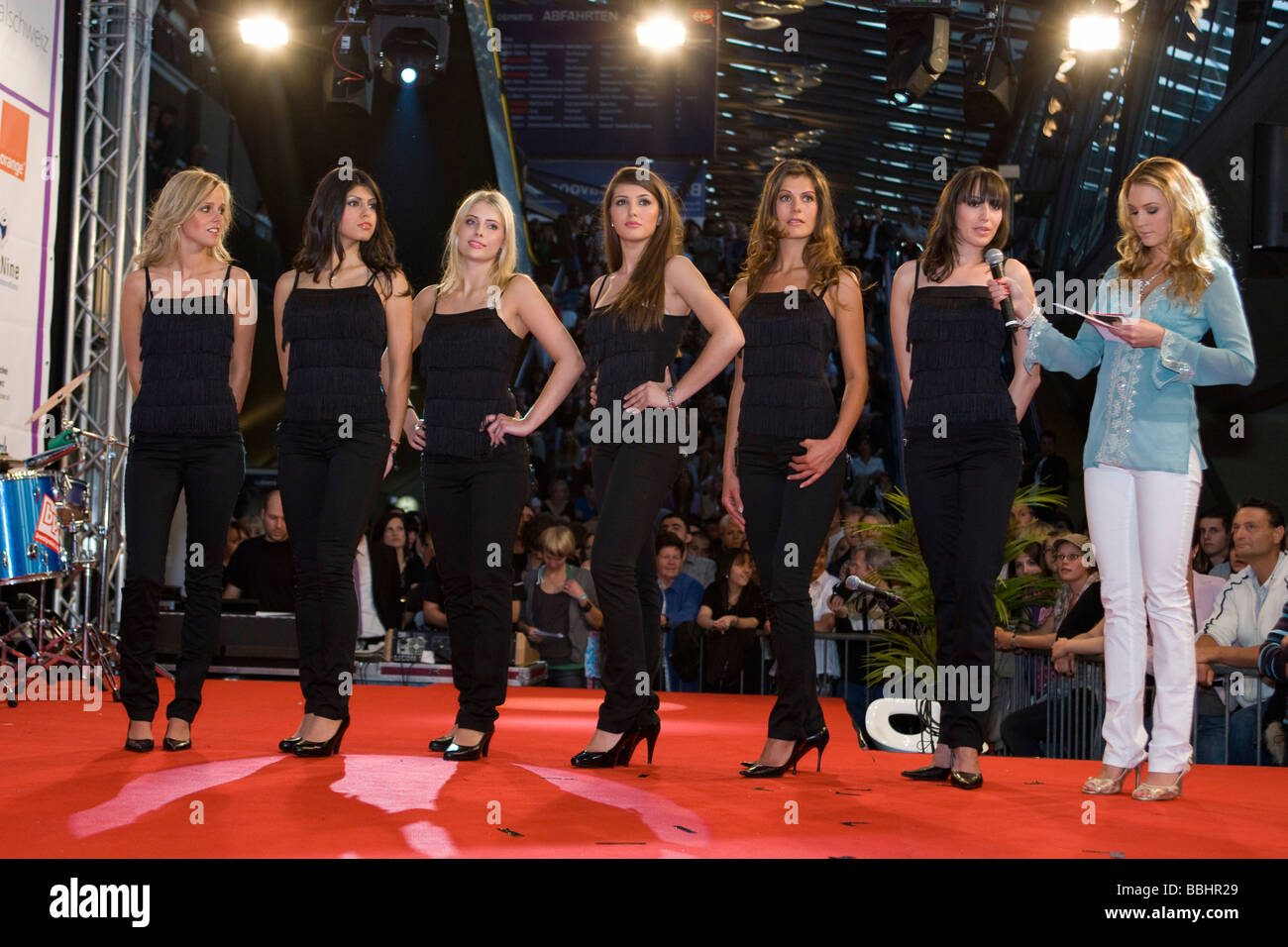 6 of the 12 finalists, from left, Nicole Mueller 23 from Rotheburg, 1st, Rana Alkhoory 21 from Rickenbach, 2nd, - Stock Image