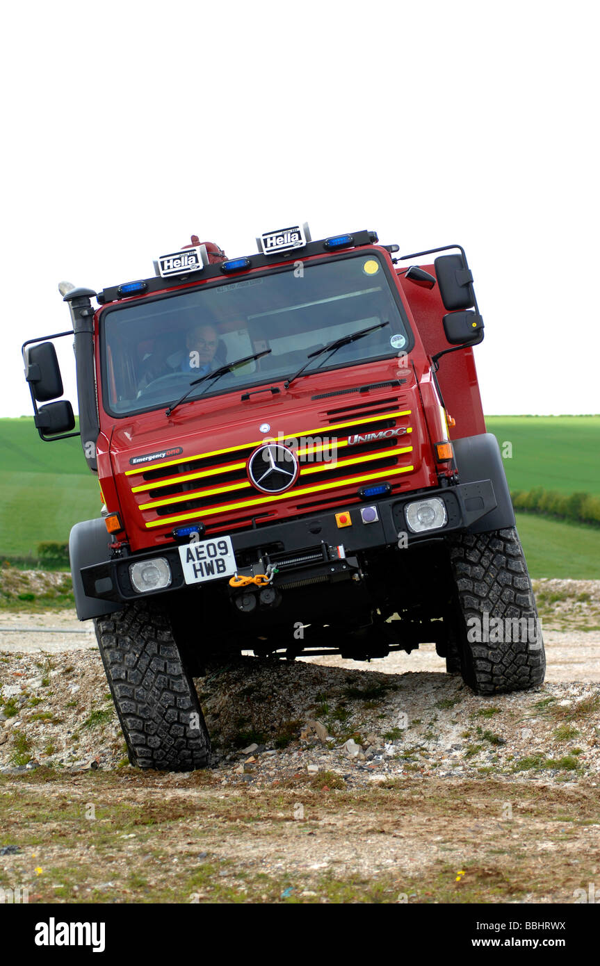 Unimog used by the 'fire service', Britain UK - Stock Image