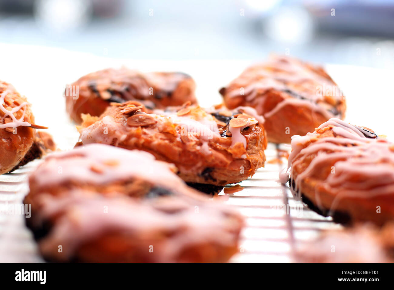 Pastries in the Maison Bertaux patisserie in Greek Street Soho London England - Stock Image