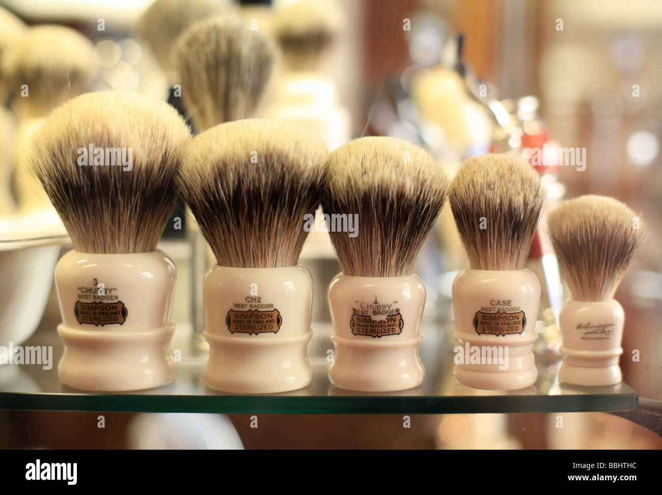 Badger shaving brushes on display in D R Harris pharmacy in St James street London - Stock Image