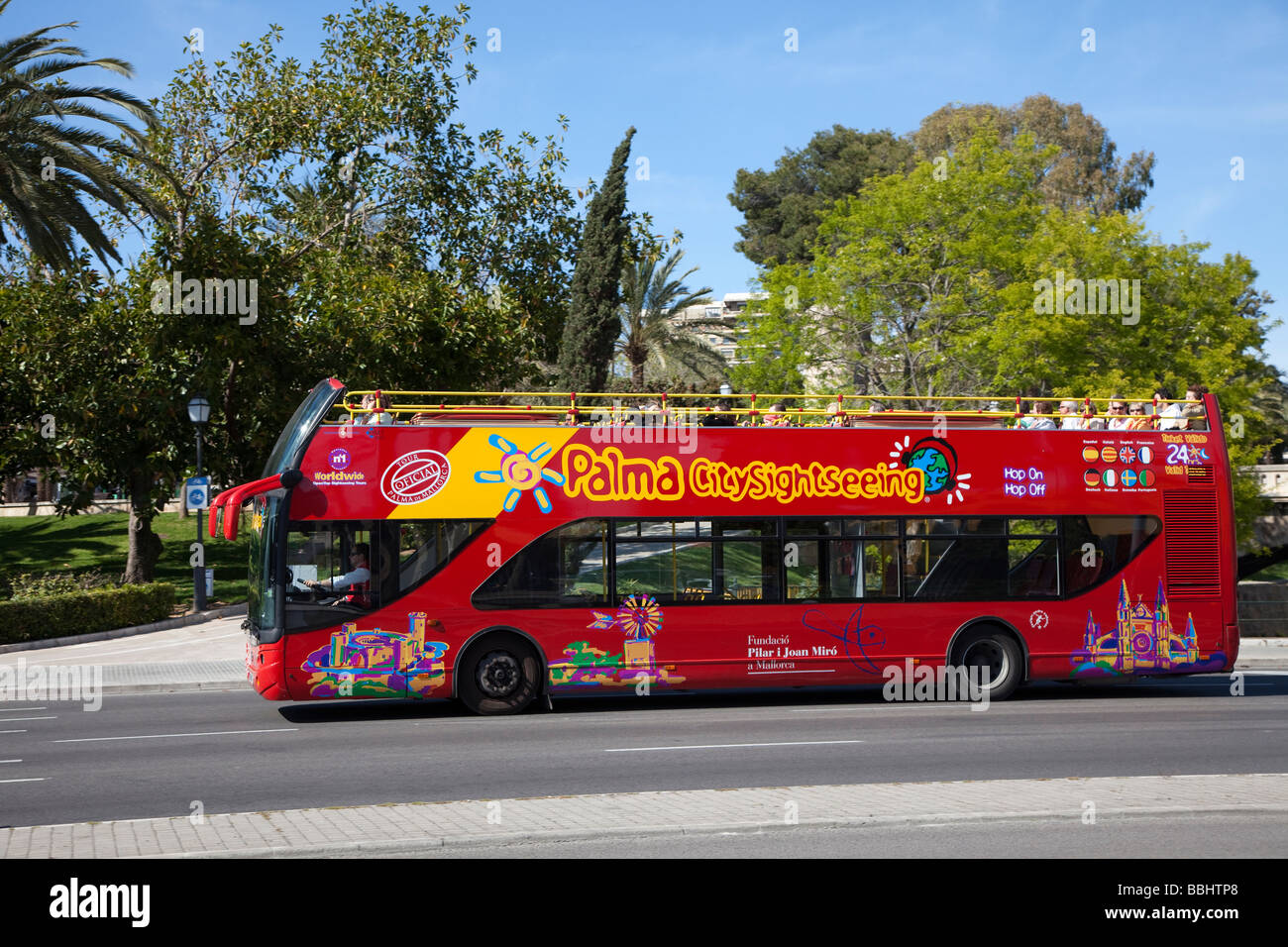 Tourist sightseeing bus Palma Mallorca Spain - Stock Image