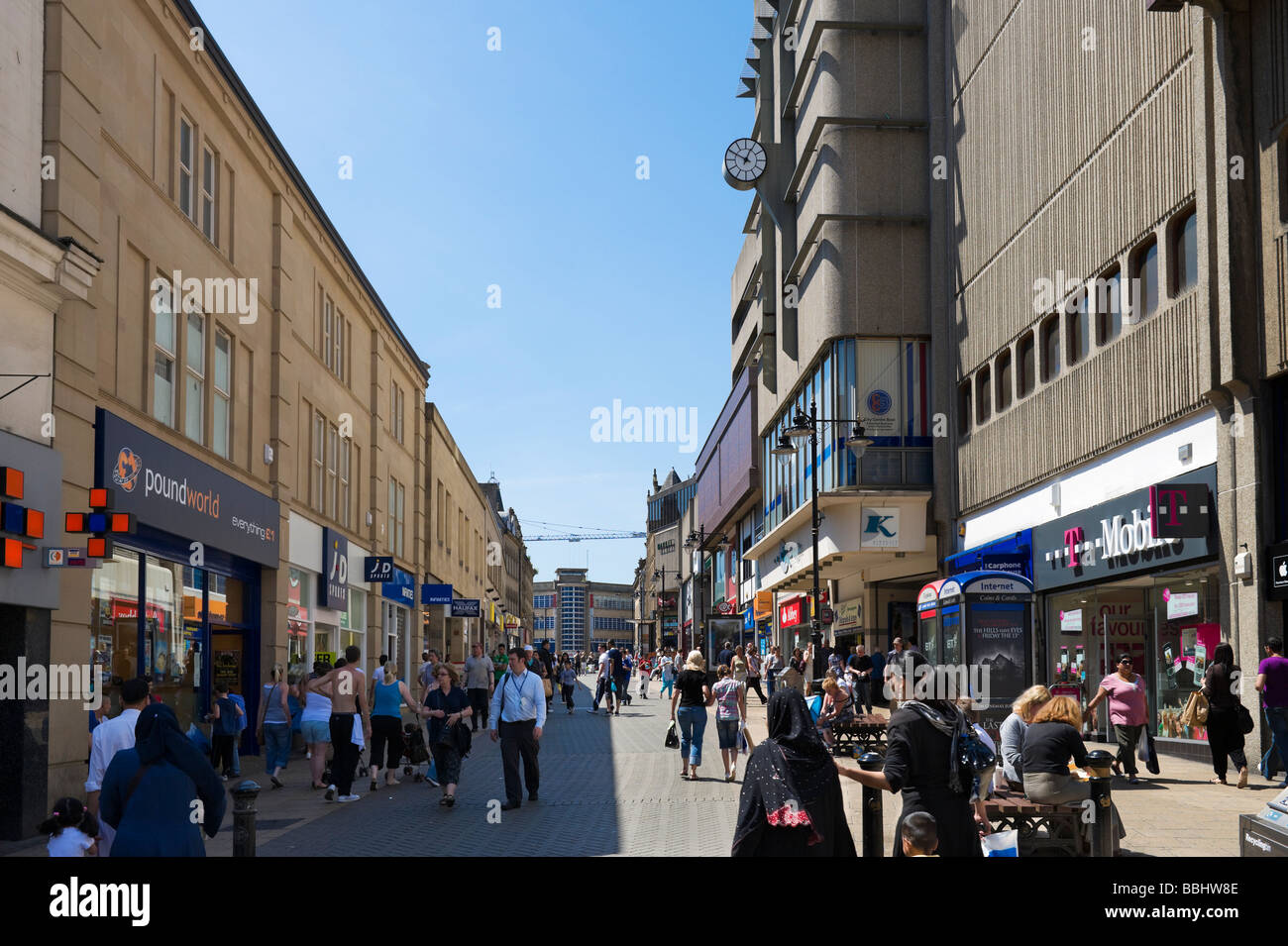 Shops on Kirkgate in the City Centre, Bradford, West Yorkshire, England - Stock Image