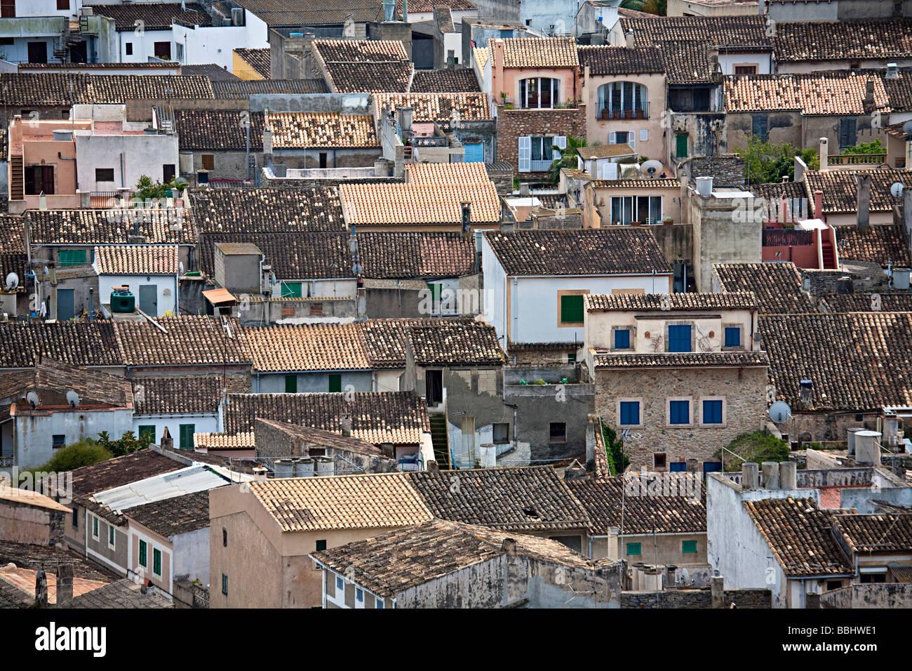 Rooftops Arta Mallorca Spain - Stock Image