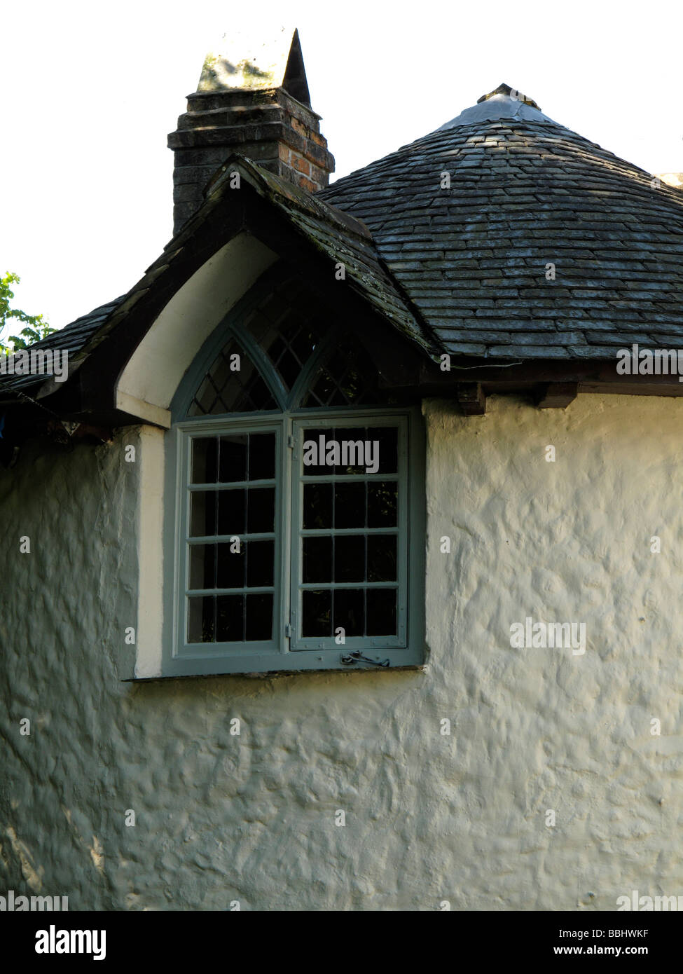 high window in turret - Stock Image