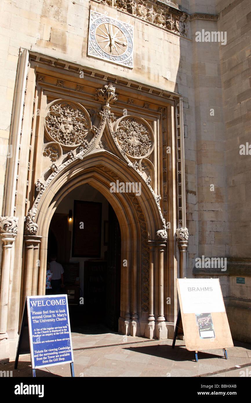 entrance to great st marys church along kings parade cambridge uk - Stock Image