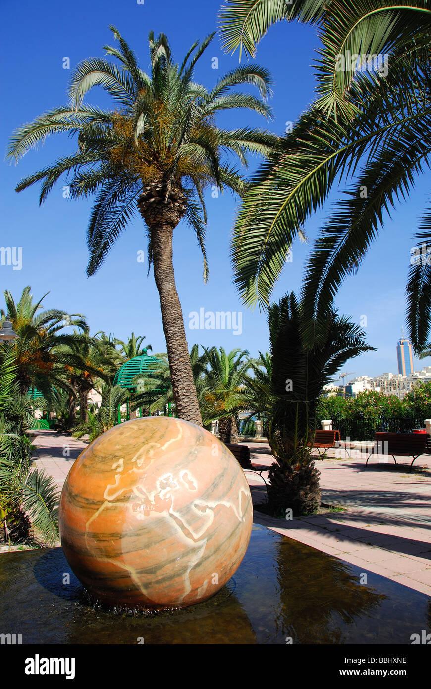MALTA. Revolving marble globe in Independence Gardens on Triq it-Torri between Sliema and St. Julian's. - Stock Image