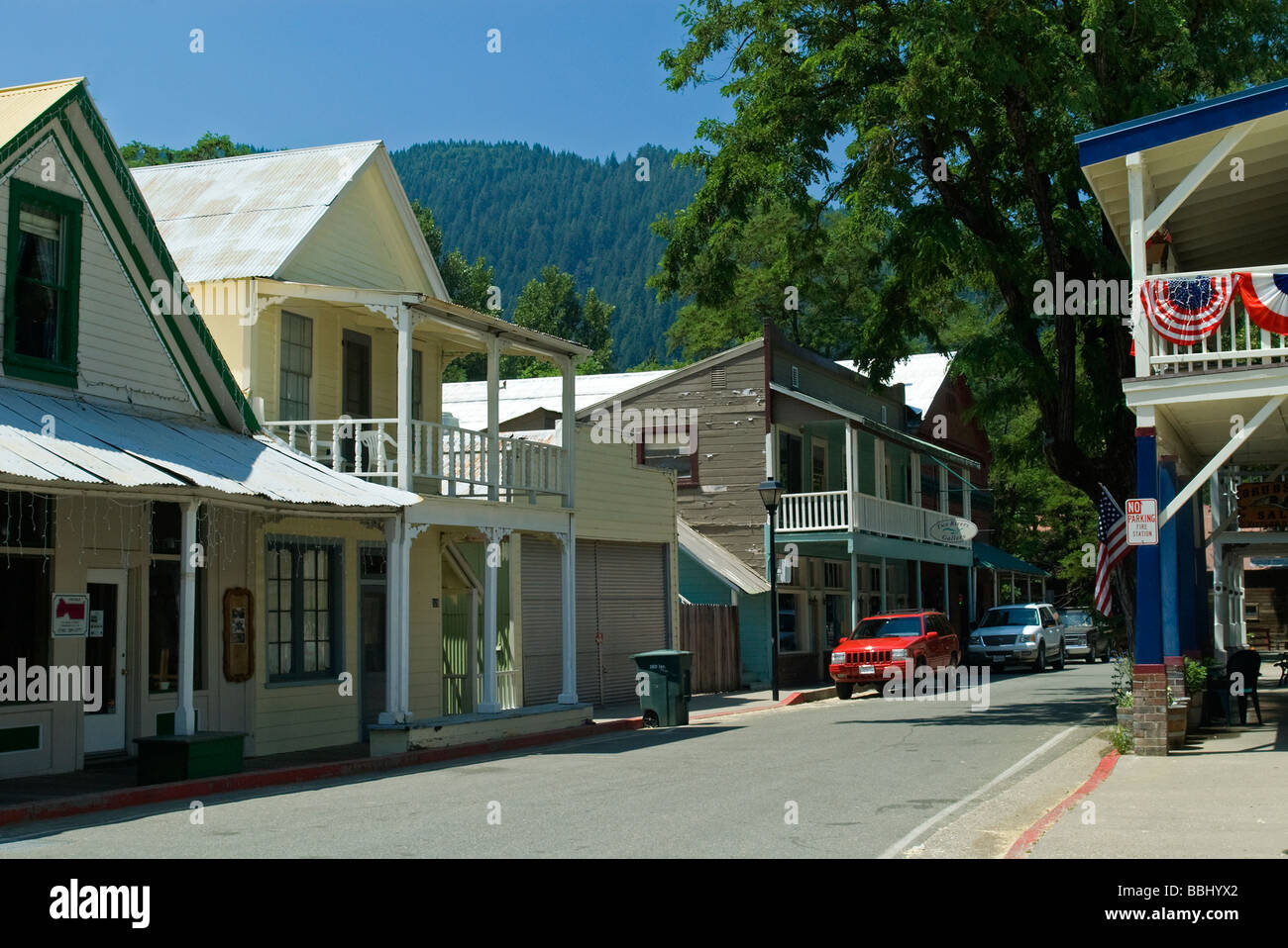 USA California Downieville Main Street mid 19th century architecture gold rush town - Stock Image