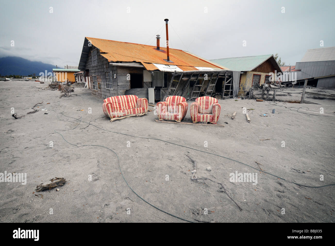 The destroyed town of Chaiten after a volcanic eruption - Stock Image