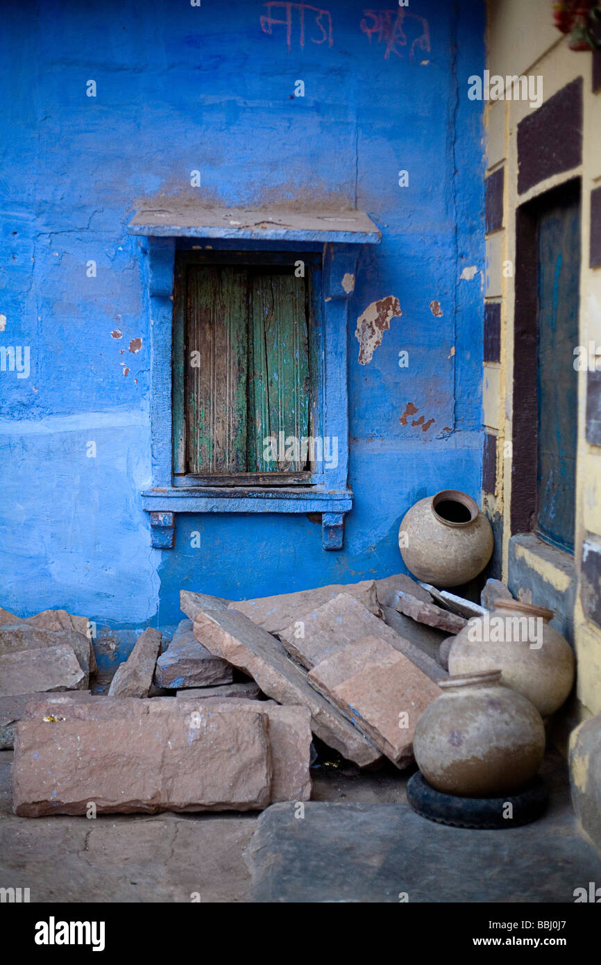 Jodhpur, India; Pile of concrete and pots outside home Stock Photo