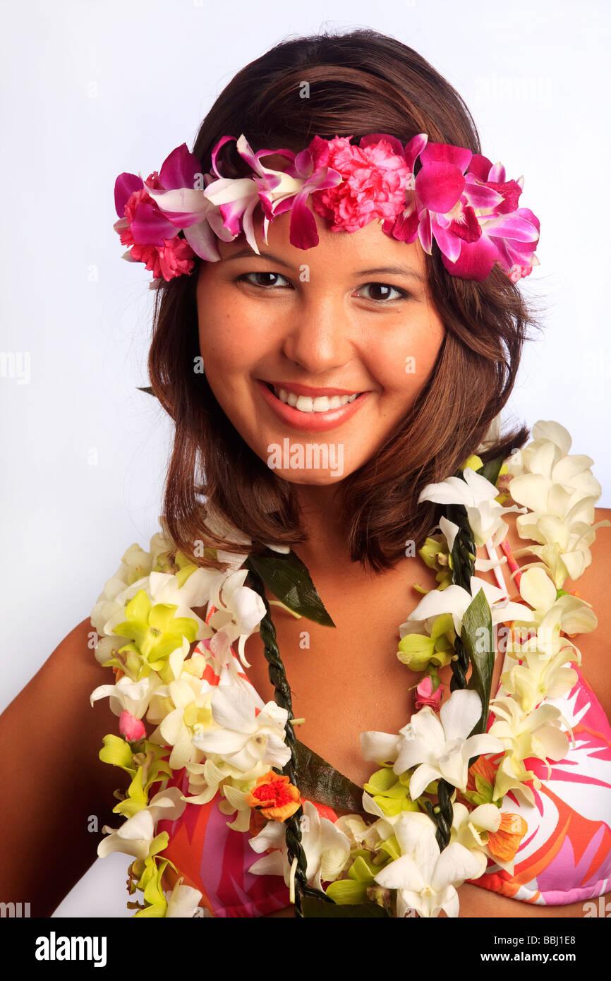 Portrait Of A Hawaiian Girl With Flower Lei Stock Photo 24367904